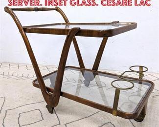 Lot 2189 Italian Modern Bar Cart Server. Inset glass. CESARE LAC