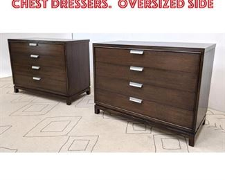 Lot 2194 Pair 4 Drawer Bachelor Chest Dressers. Oversized side