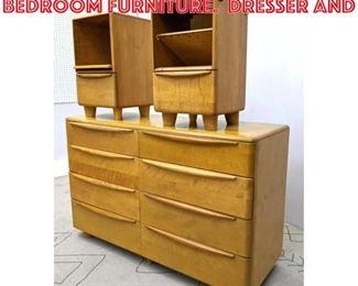 Lot 2197 3pcs Heywood Wakefield Bedroom Furniture. Dresser and
