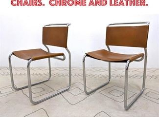 Lot 2198 Pair Nicos Zographos Chairs. Chrome and Leather.