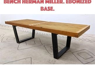 Lot 2199 GEORGE NELSON Slat Bench HERMAN MILLER. Ebonized base.