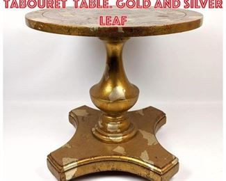 Lot 2201 Small James Mont Tabouret Table. Gold and silver leaf