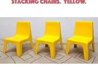 Lot 2205 Set 3 POLYZIV Plastic Stacking Chairs. Yellow.