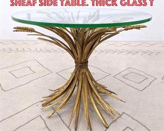 Lot 2206 Italian Gilt Iron Wheat Sheaf Side Table. Thick Glass T