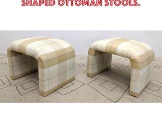 Lot 2217 Pair Upholstered U Shaped Ottoman Stools.