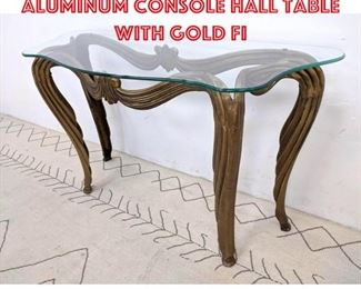 Lot 2219 Decorator Cast Aluminum Console Hall Table with Gold Fi