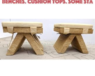 Lot 2221 Pair Rope Wrapped Stool Benches. Cushion Tops. Some sta