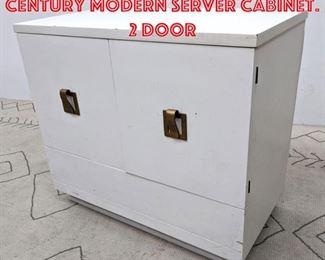 Lot 2225 White Painted Mid Century Modern Server Cabinet. 2 Door