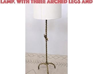 Lot 2229 Decorator Brass Floor Lamp. with three arched legs and
