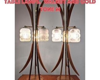 Lot 2231 Mid Century Modern Table Lamps. Walnut and gold tone m