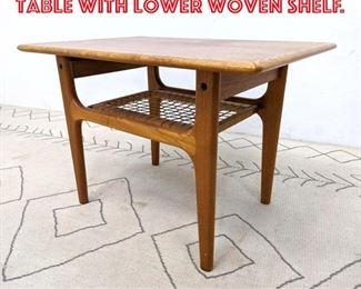 Lot 2232 Danish Modern Teak Side Table with Lower Woven Shelf.