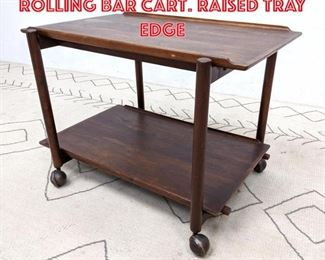 Lot 2233 RAYMOR Danish Modern Rolling Bar Cart. Raised tray edge
