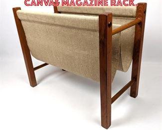 Lot 2239 Danish Modern Teak and Canvas Magazine Rack.
