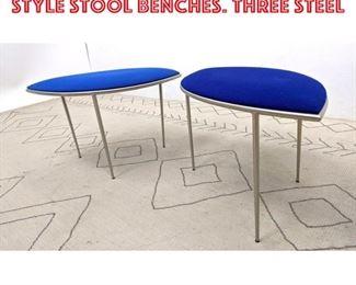 Lot 2247 Pair Alexander Girard Style Stool Benches. Three steel