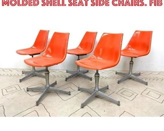 Lot 2251 Set 5 Bright Colored Molded Shell Seat Side Chairs. Fib
