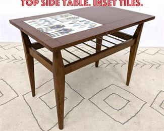Lot 2252 Mid Century Modern Tile Top Side Table. Inset tiles.