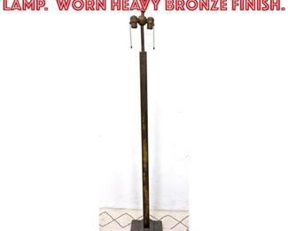 Lot 2256 Vintage Iron Floor Lamp. Worn Heavy Bronze finish.