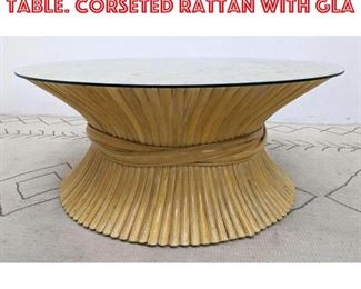 Lot 2258 MCGUIRE Coffee Cocktail Table. Corseted Rattan with Gla
