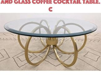 Lot 2259 80s Modern Gold Tone and Glass Coffee Cocktail Table. C