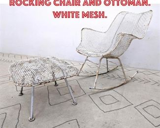 Lot 2263 RUSSELL WOODARD Rocking Chair and Ottoman. White mesh.