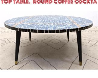 Lot 2269 Mid Century Modern Tile Top Table. Round Coffee Cockta