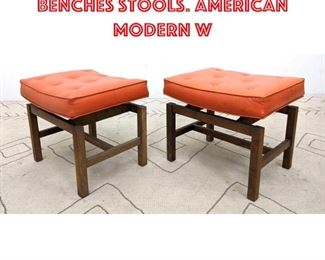 Lot 2271 Pair JENS RISOM Style Benches Stools. American Modern W