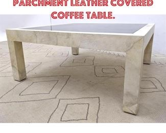 Lot 2274 Karl Springer Parchment Leather Covered Coffee Table.