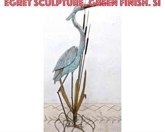 Lot 2275 BERTOCCHI Mixed Metal Egret Sculpture. Green finish. Si