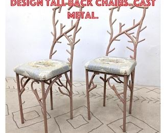 Lot 2280 Pair Branch Coral Design Tall Back Chairs. Cast Metal.