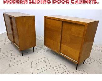 Lot 2282 Pair Mid Century Modern Sliding Door Cabinets.