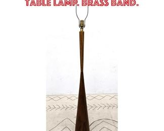 Lot 2292 Tall Walnut Corseted Table Lamp. Brass band.