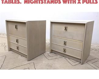 Lot 2291 Pair Paul Frankl Side Tables. Nightstands with x Pulls