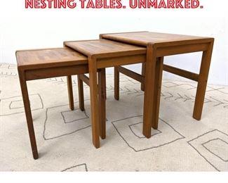 Lot 2295 Set 3pcs Danish Teak Nesting Tables. Unmarked.