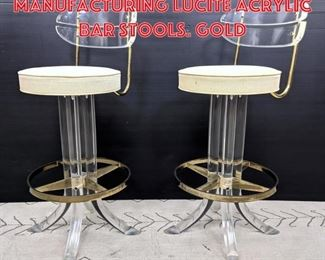 Lot 2300 Pair HILL Manufacturing Lucite acrylic Bar Stools. Gold