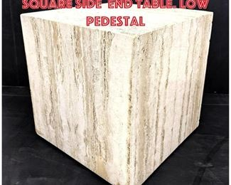 Lot 2304 Travertine Marble Square Side End Table. Low Pedestal