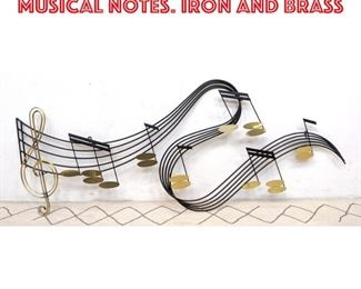 Lot 2307 C. JERE Wall Sculpture of Musical Notes. Iron and brass