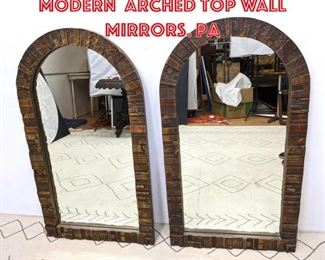 Lot 2308 Pair Of Mid Century Modern Arched Top Wall Mirrors. Pa