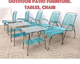 Lot 2321 10pcs 50s Modern Outdoor Patio Furniture. Tables, Chair