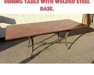 Lot 2322 Large Granite Top Dining Table with Welded Steel Base.
