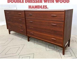 Lot 2324 Danish Modern Teak Double Dresser with Wood Handles.