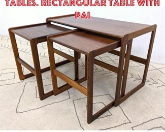 Lot 2333 3pc Rosewood Nesting Tables. Rectangular table with pai