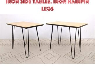 Lot 2335 Pr Modernist Wood Iron Side Tables. Iron Hairpin Legs
