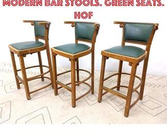 Lot 2336 Set 3 Thonet style Modern Bar Stools. Green seats. Hof
