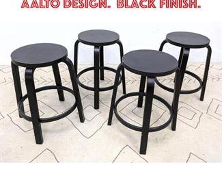 Lot 2337 Set 4 ARTEK Stools. ALVAR AALTO Design. Black Finish.