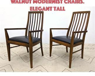 Lot 2339 Pr LANE Open Arm Walnut Modernist Chairs. Elegant tall