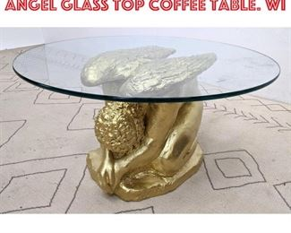 Lot 2341 Decorator Gilt Figural Angel Glass Top Coffee Table. Wi