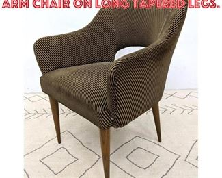 Lot 2343 Mid Century Modern Arm Chair on Long Tapered Legs.