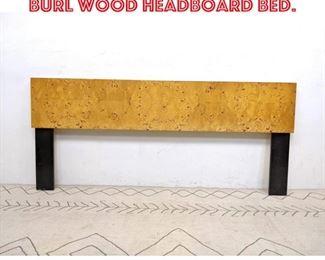 Lot 2345 Mid Century Modern Burl wood Headboard Bed.