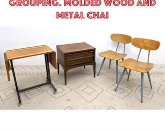 Lot 2346 Mid Century Modern Grouping. Molded wood and metal chai