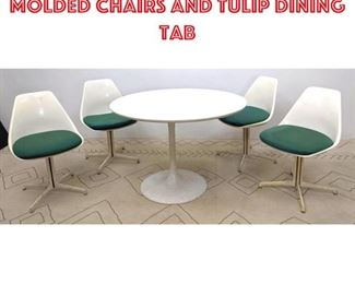 Lot 2347 BURKE Dining Set. 4 Molded Chairs and Tulip Dining Tab